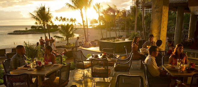 LANAI OF 'AMA'AMA BEACH RESTAURANT -- With its fun recreation features and restaurants, its comfortable rooms, and its combination of Disney magic with Hawaiian beauty, tradition and relaxation, Aulani, a Disney Resort & Spa in Hawai'i, offers a new way for families to vacation together on the island of O'ahu. (Matt Stroshane/Disney Destinations)